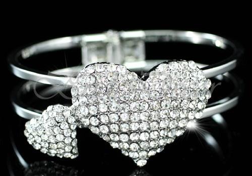 Браслет на руку «Два сердца»