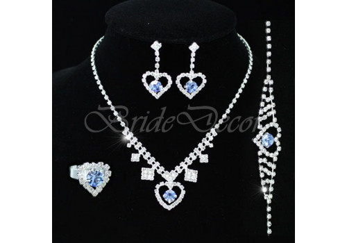 Синий комплект бижутерии «Сердечки»